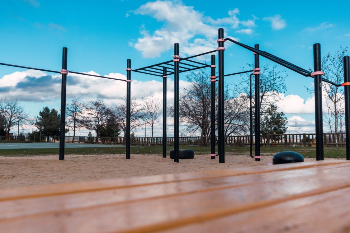 Workout park: parallel bars, horizontal bars, ladders and other structures