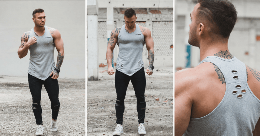 Tílko Ripped Tank Top Grey - GymBeam
