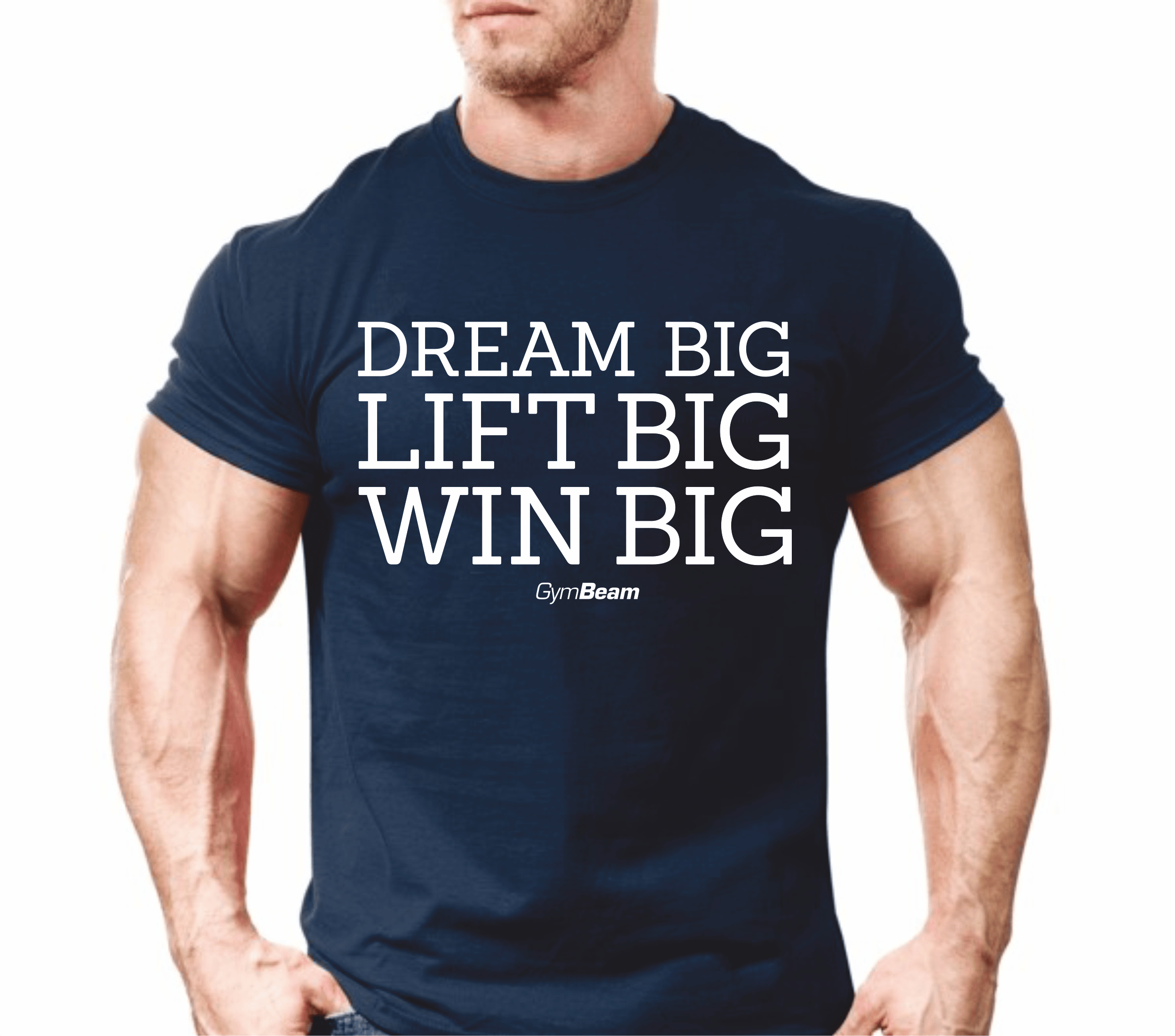 GymBeam Tričko Win Big Dark Blue - M