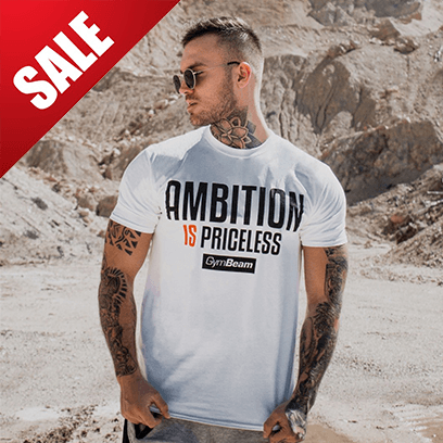 GymBeam Tričko Ambition Is Priceless White Black - S