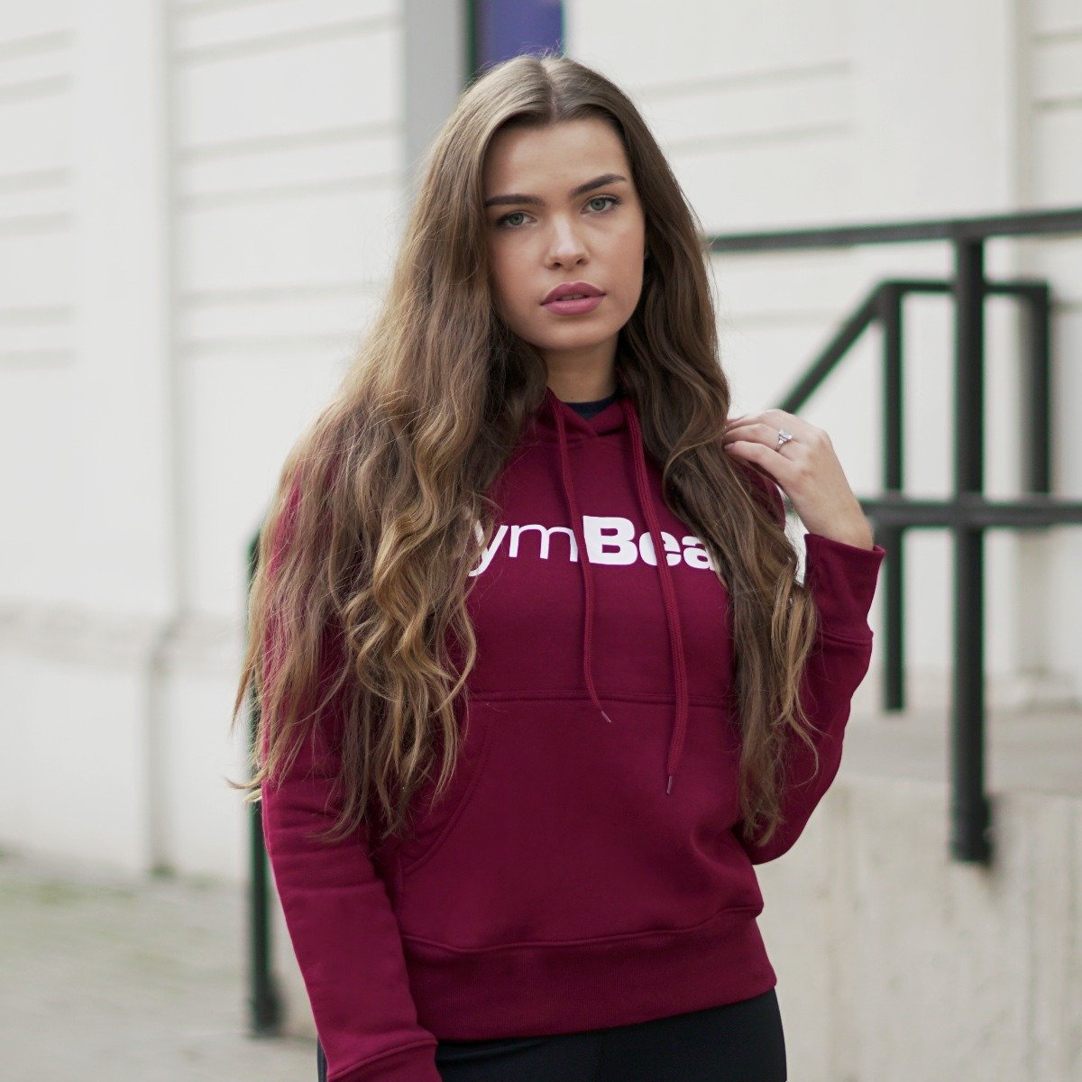 GymBeam Dámska mikina Athlete Burgundy White