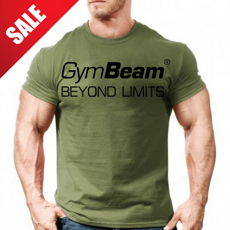 GymBeam Tričko Beyond Limits Military Green - S