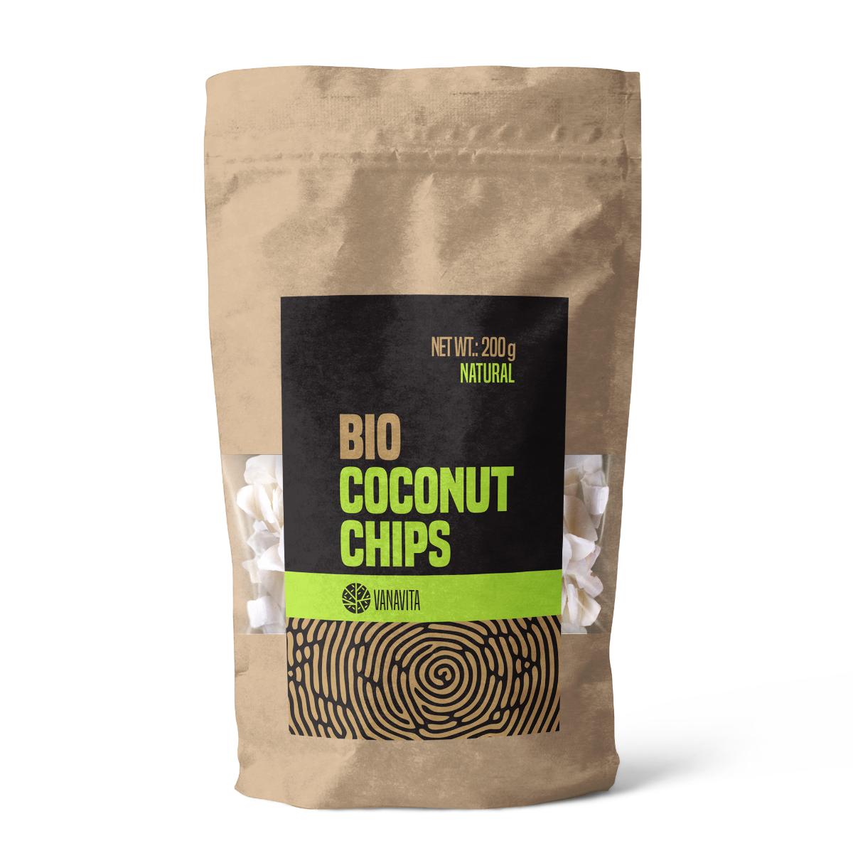 BIO Kokosové chipsy natural 200 g - VanaVita