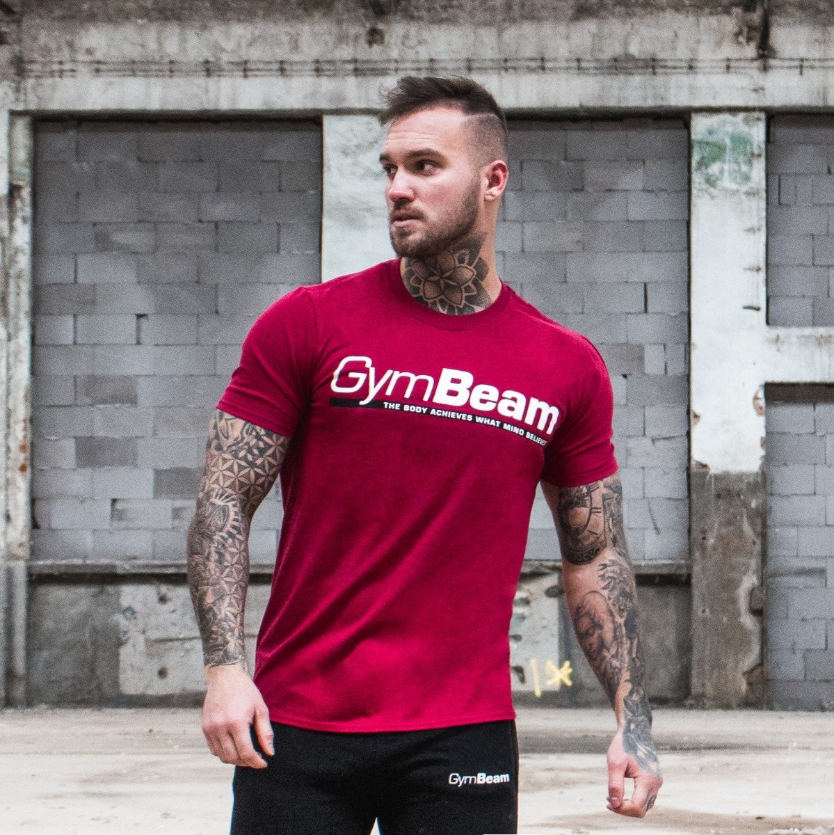 GymBeam Tričko Body and Mind Cardinal Red