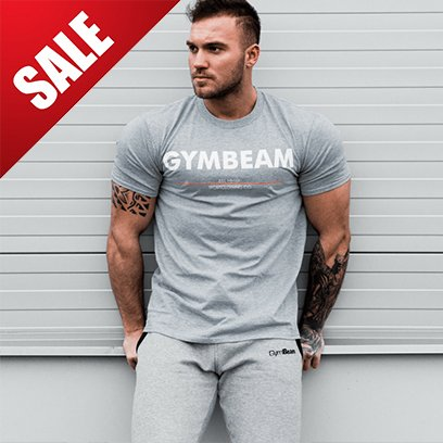 GymBeam Tričko GymBeam Clear Grey White - L