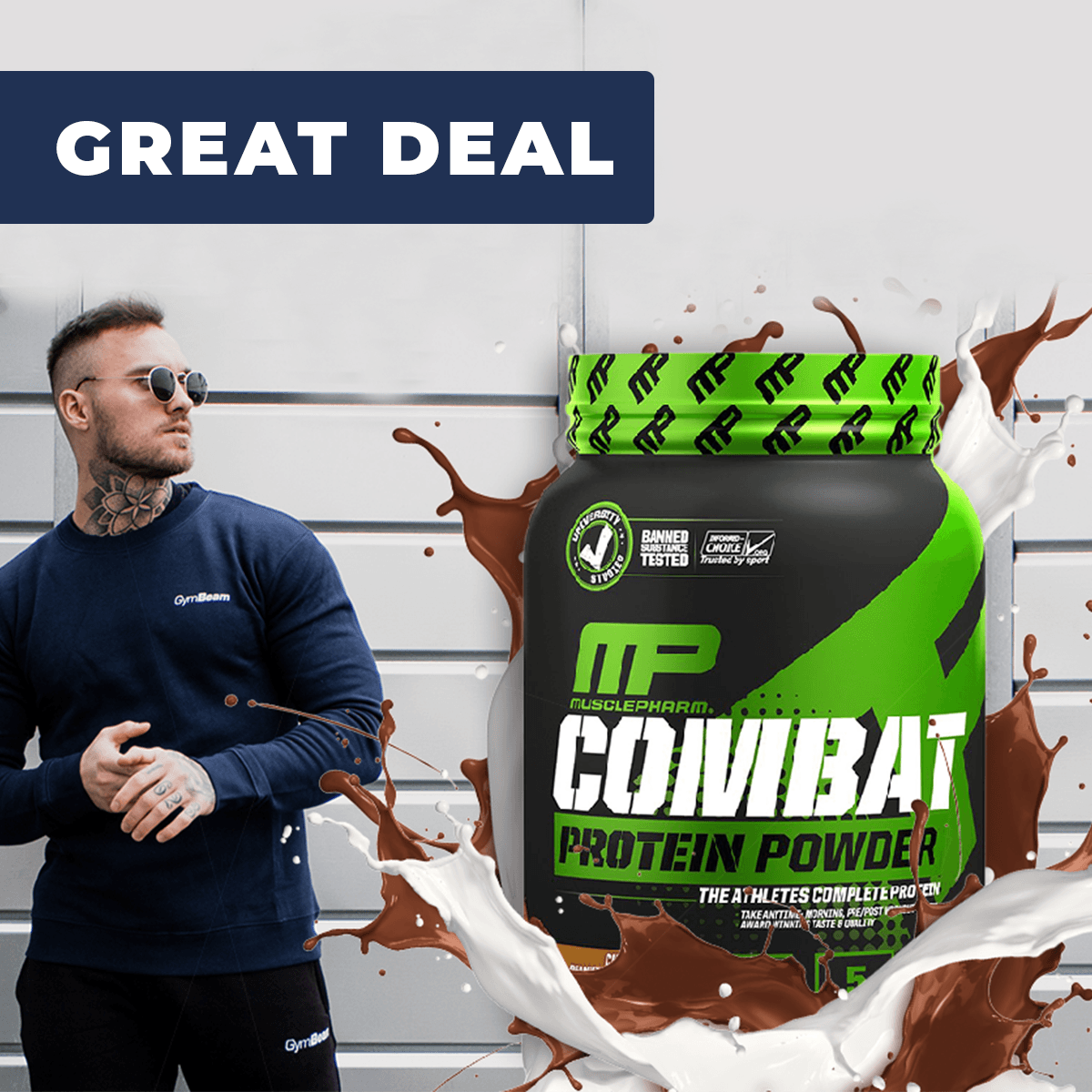 MusclePharm Combat Protein Powder - 1800 g - čokoláda