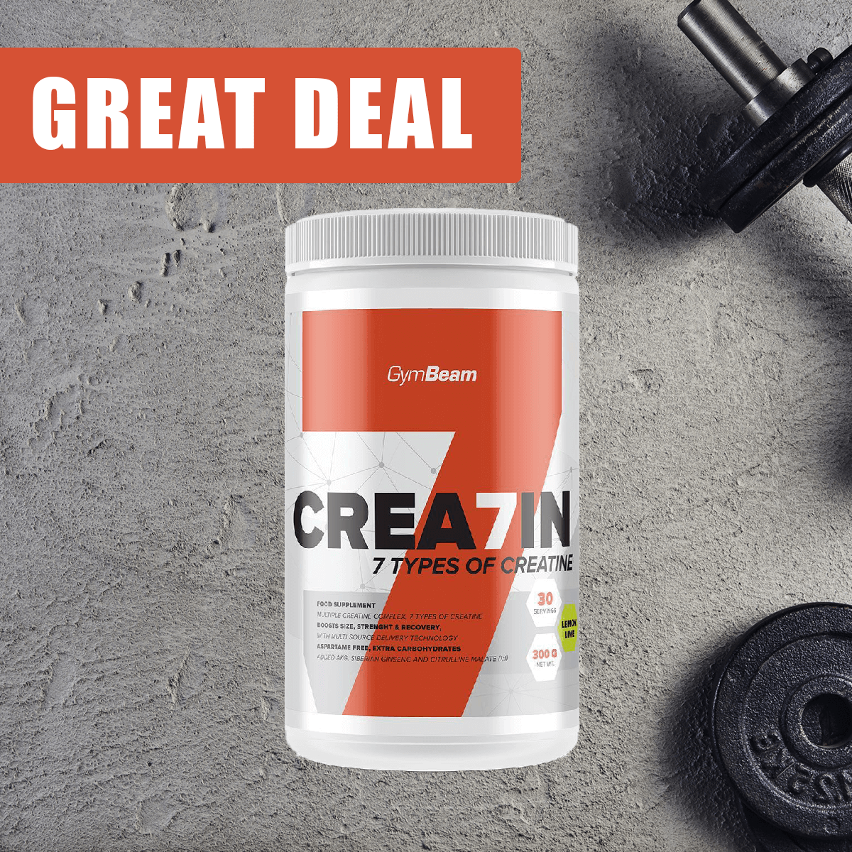 GymBeam Kreatín Crea7in 300 g - lemon lime