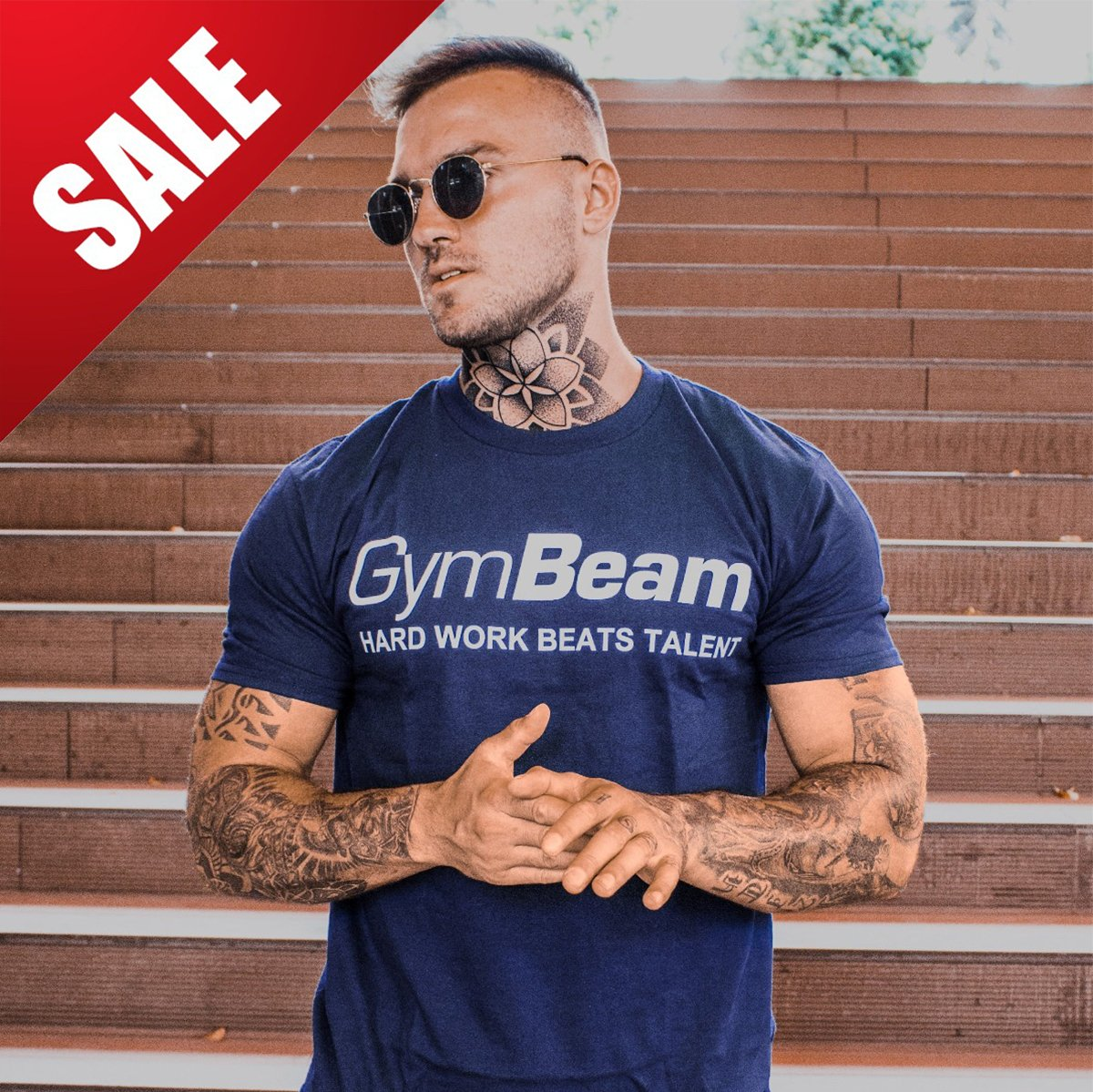 GymBeam Tričko Hard Work Navy White - L