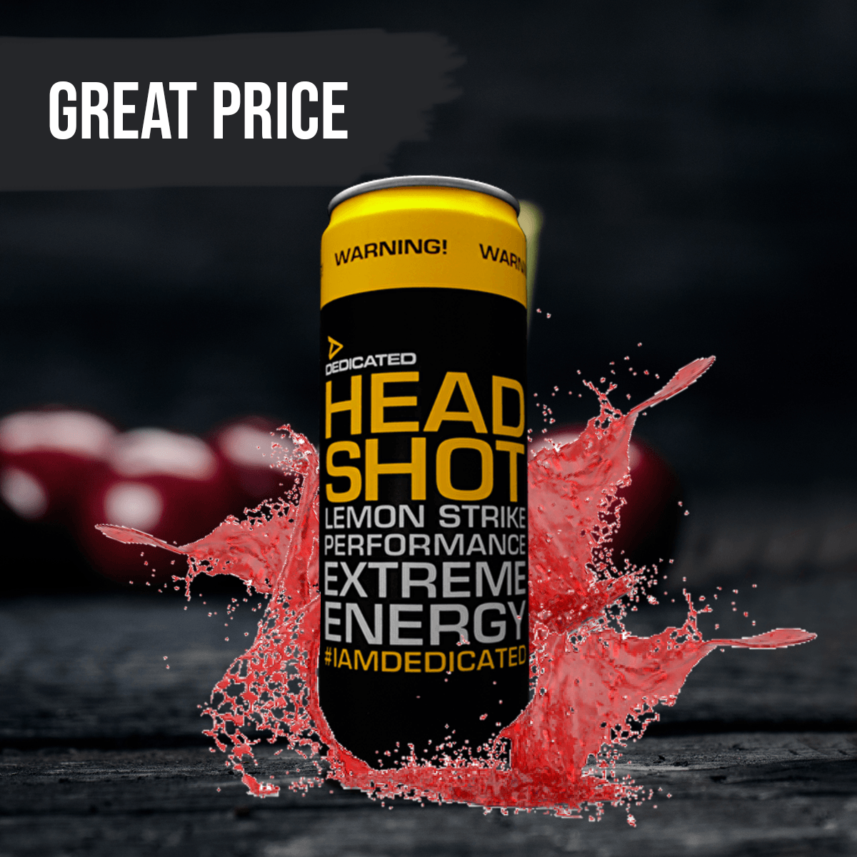 Dedicated Nutrition Headshot 355 ml - cherry blast