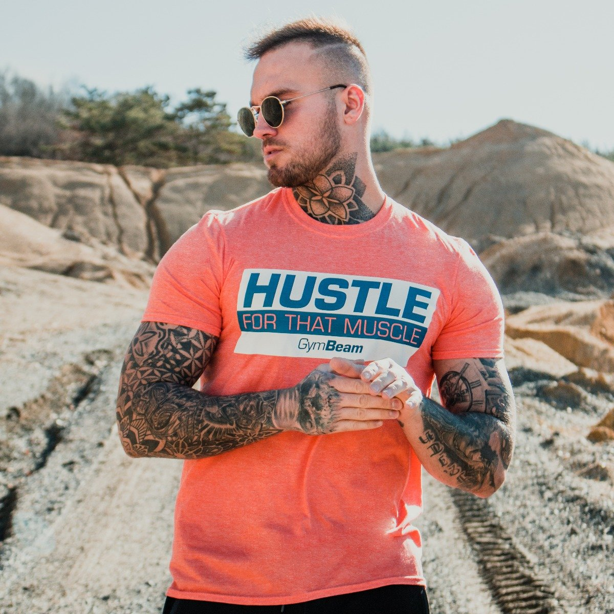 Tričko Hustle For That Muscle Heather Orange - GymBeam - S