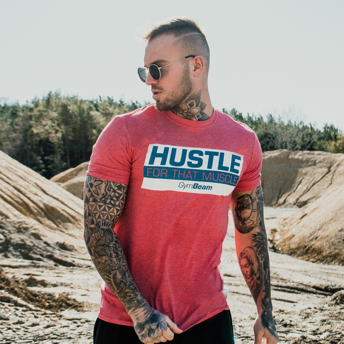 Tričko Hustle For That Muscle Heather Red - GymBeam - S