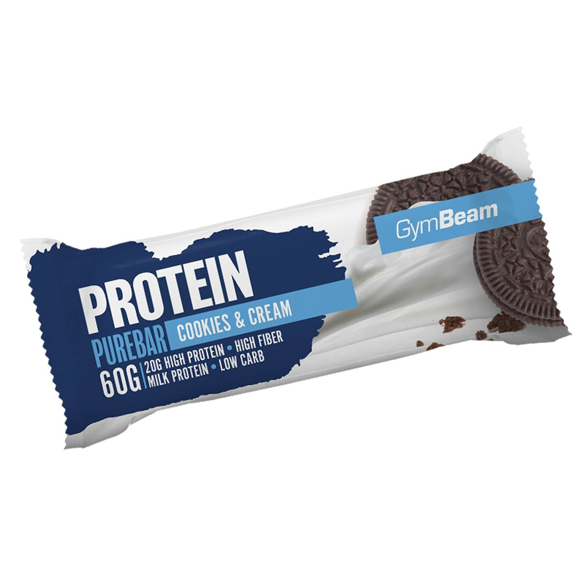 GymBeam Protein PureBar 60 g - white chocolate raspberry