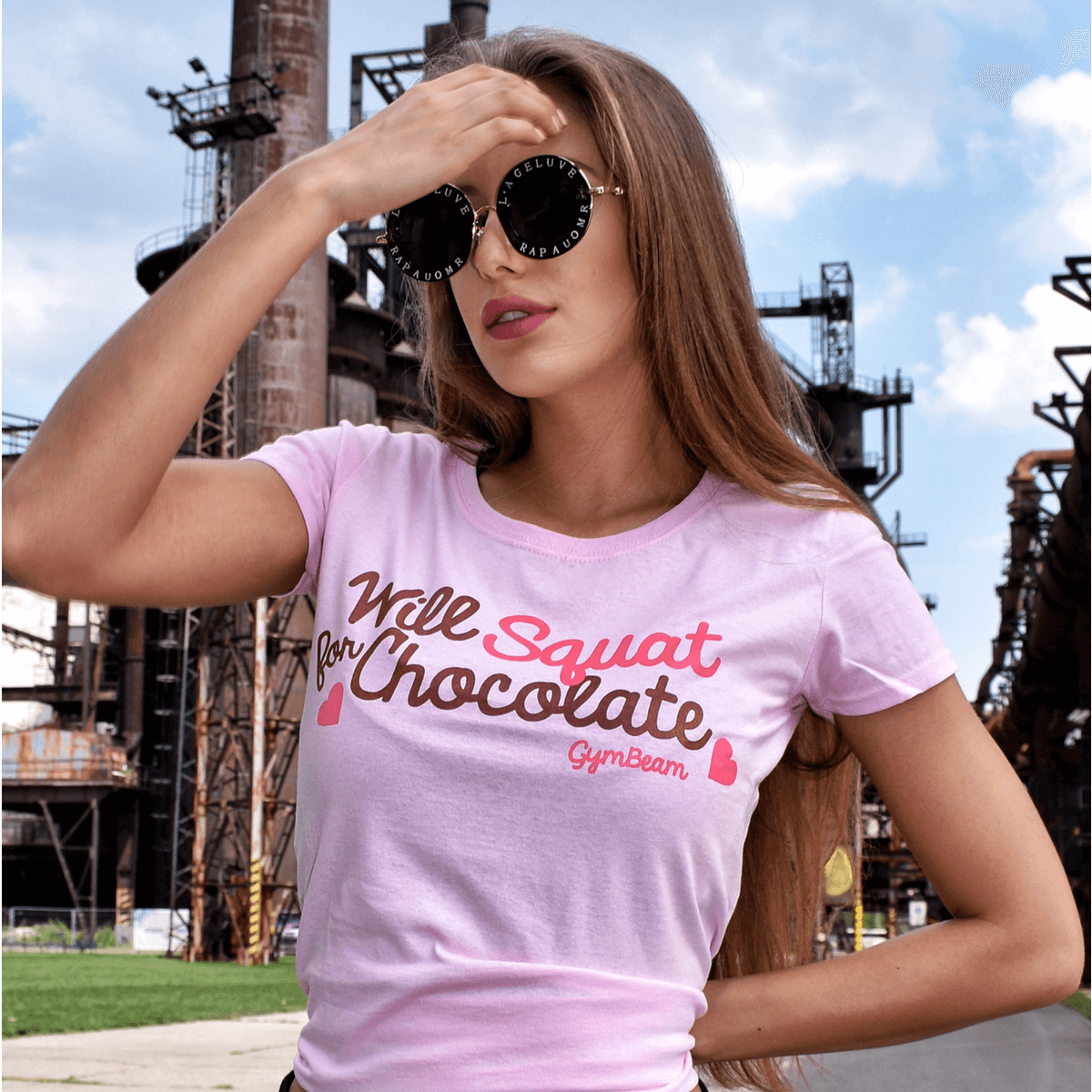 GymBeam Dámske tričko Will Squat For Chocolate Light Pink - S