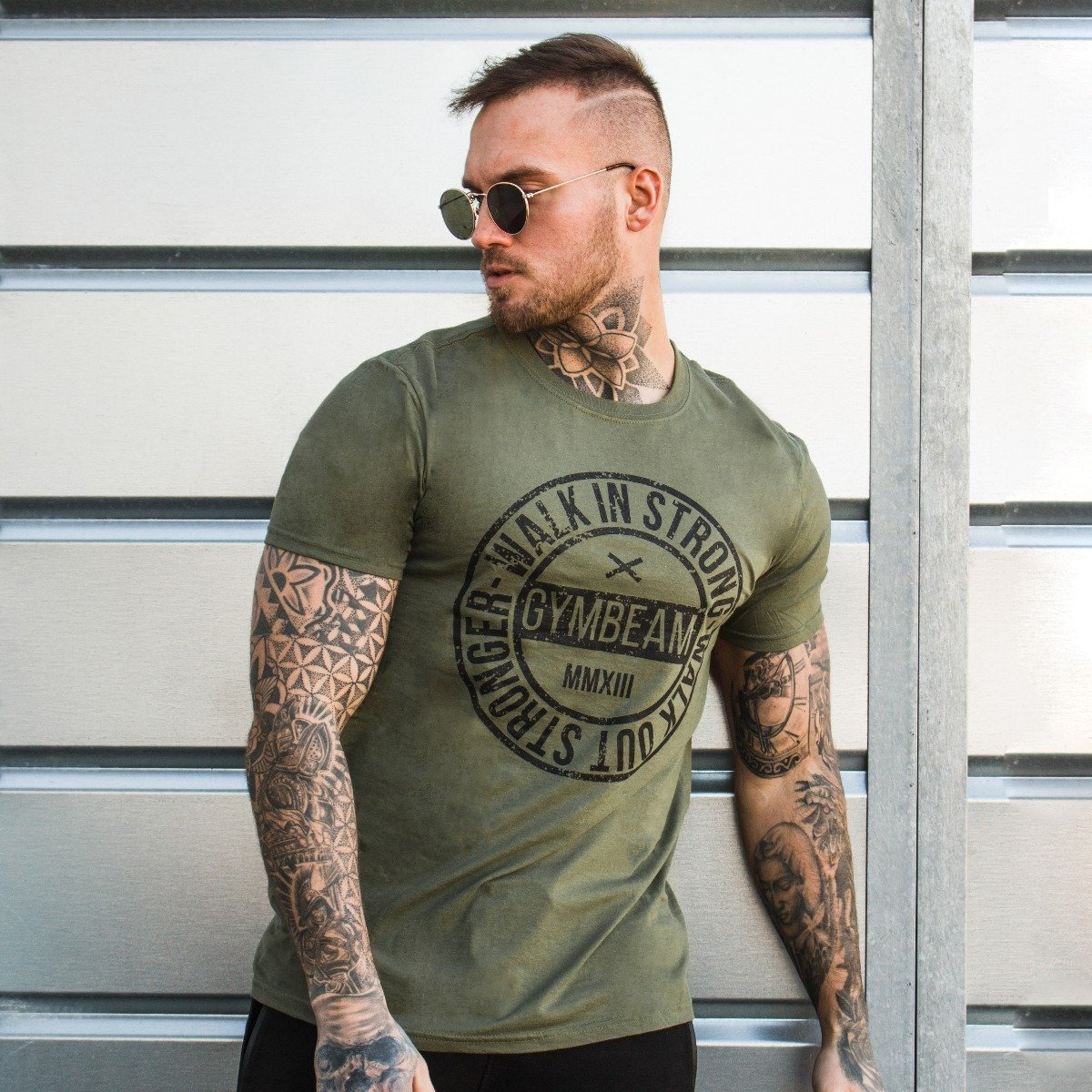 Tričko Walk In Strong Military Green - GymBeam - S