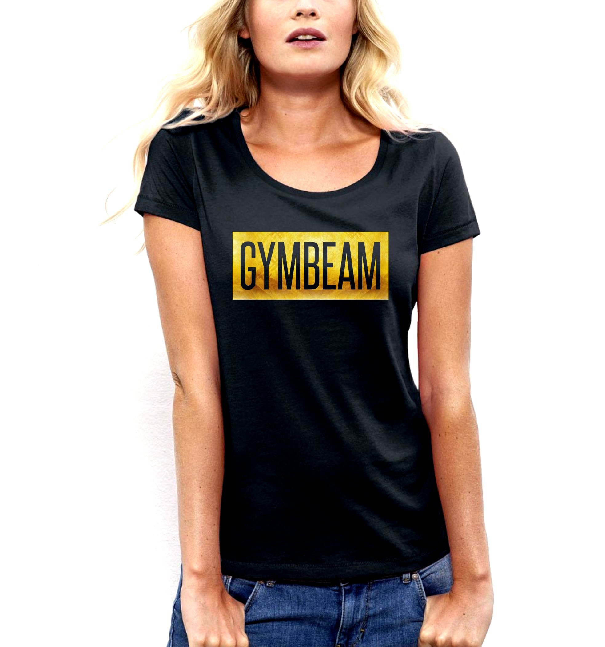 GymBeam Dámske tričko Box Logo Black Gold - M d6df5d57c7