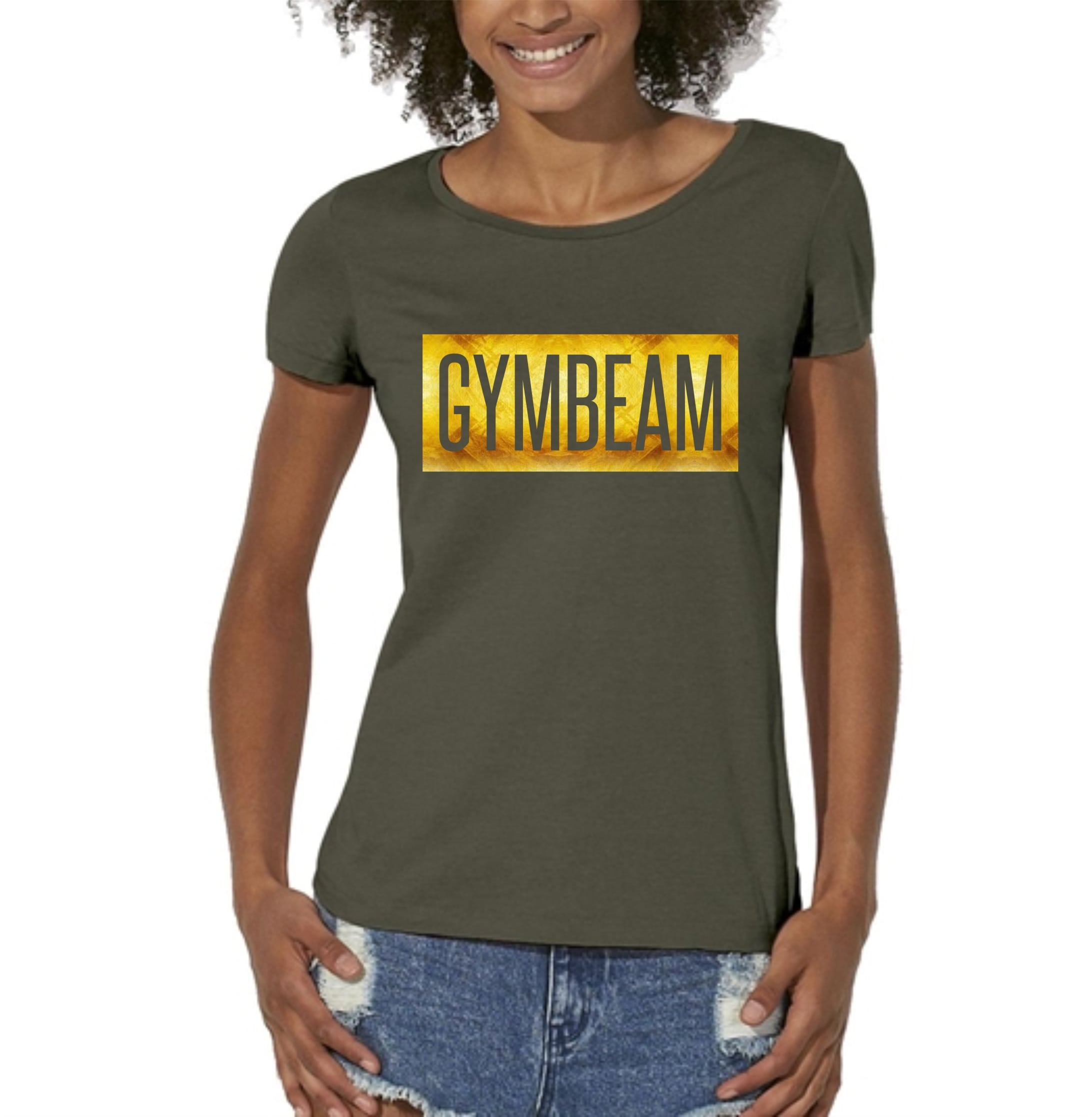 GymBeam Dámske tričko Box Logo Military Green Gold - M