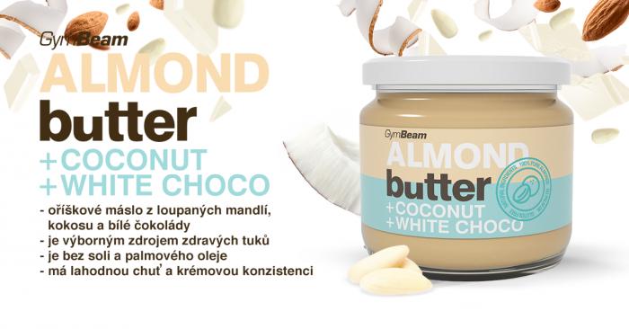 Vzorek Mandlové máslo s kokosem a bílou čokoládou - GymBeam