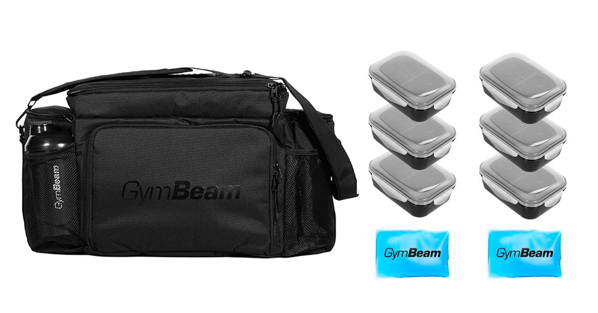 Taška na jídlo Fit Prep Black + 6 krabiček - GymBeam